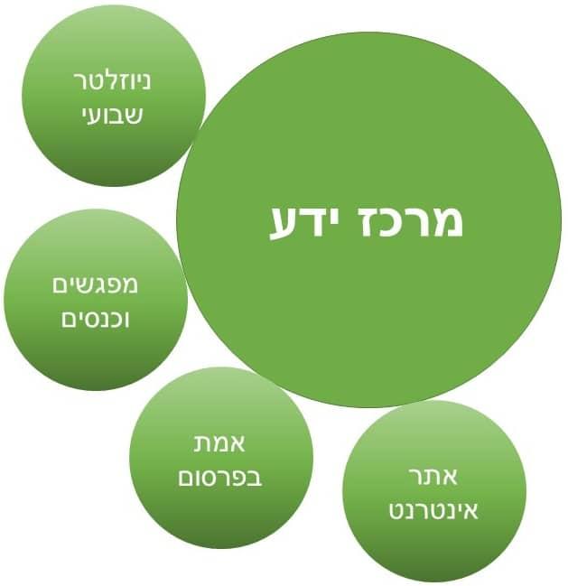 הצגה סכמטית של פעילות הפורום כמרכז ידע